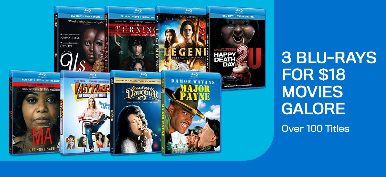 3 Blu-rays For $18 - Over 100 Titles To Choose From