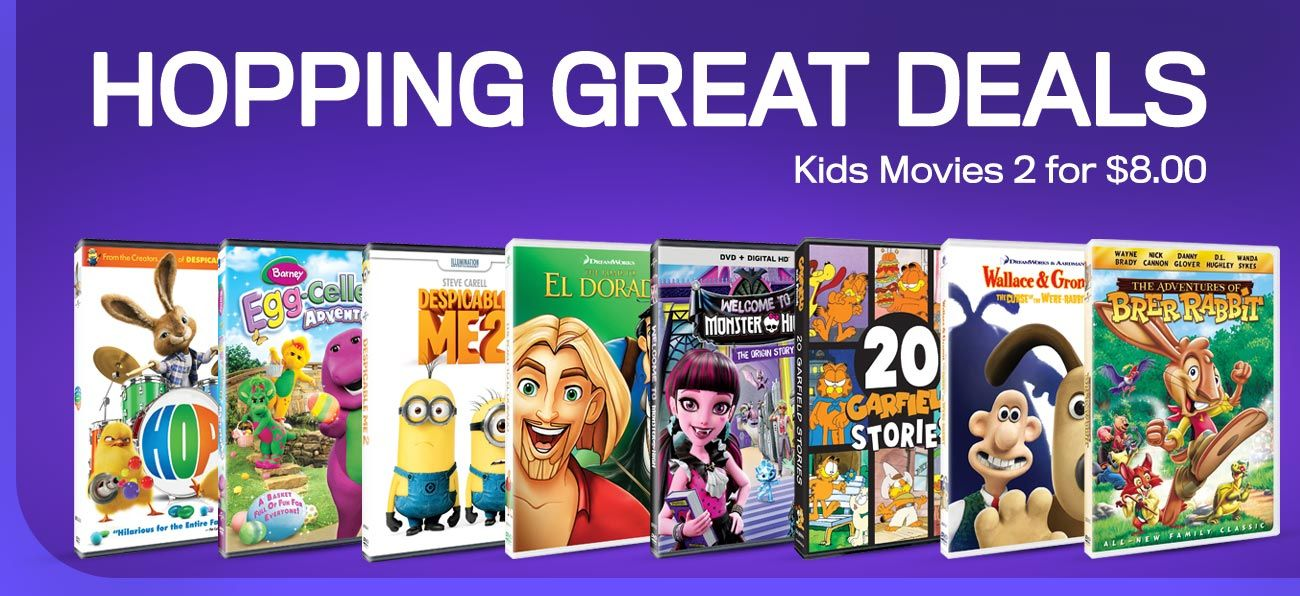 Hopping Great Deals - Kids Movies 2 for $8.00